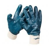 Перчатки рабочие ЗУБР с манжетой, с полным нитриловым покрытием XL