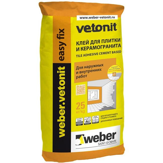 Ветонит Easy Fix - клей для плитки и керамогранита, 25 кг
