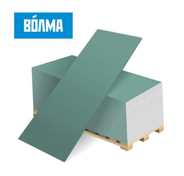Гипсокартон Волма влагостойкий (ГКЛВ) 2500х1200х12,5 мм